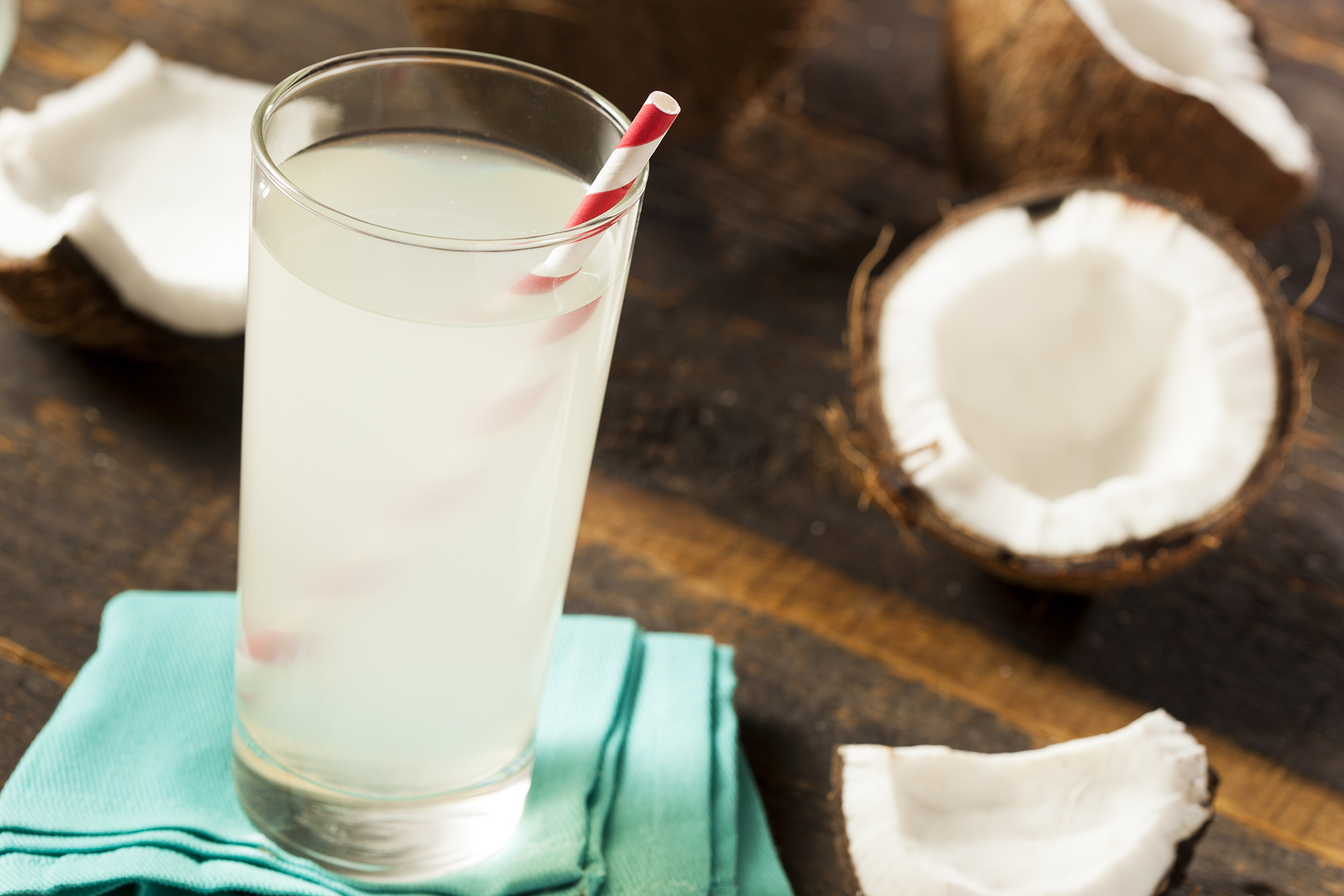 Fresh Organic Coconut Water in a Glass