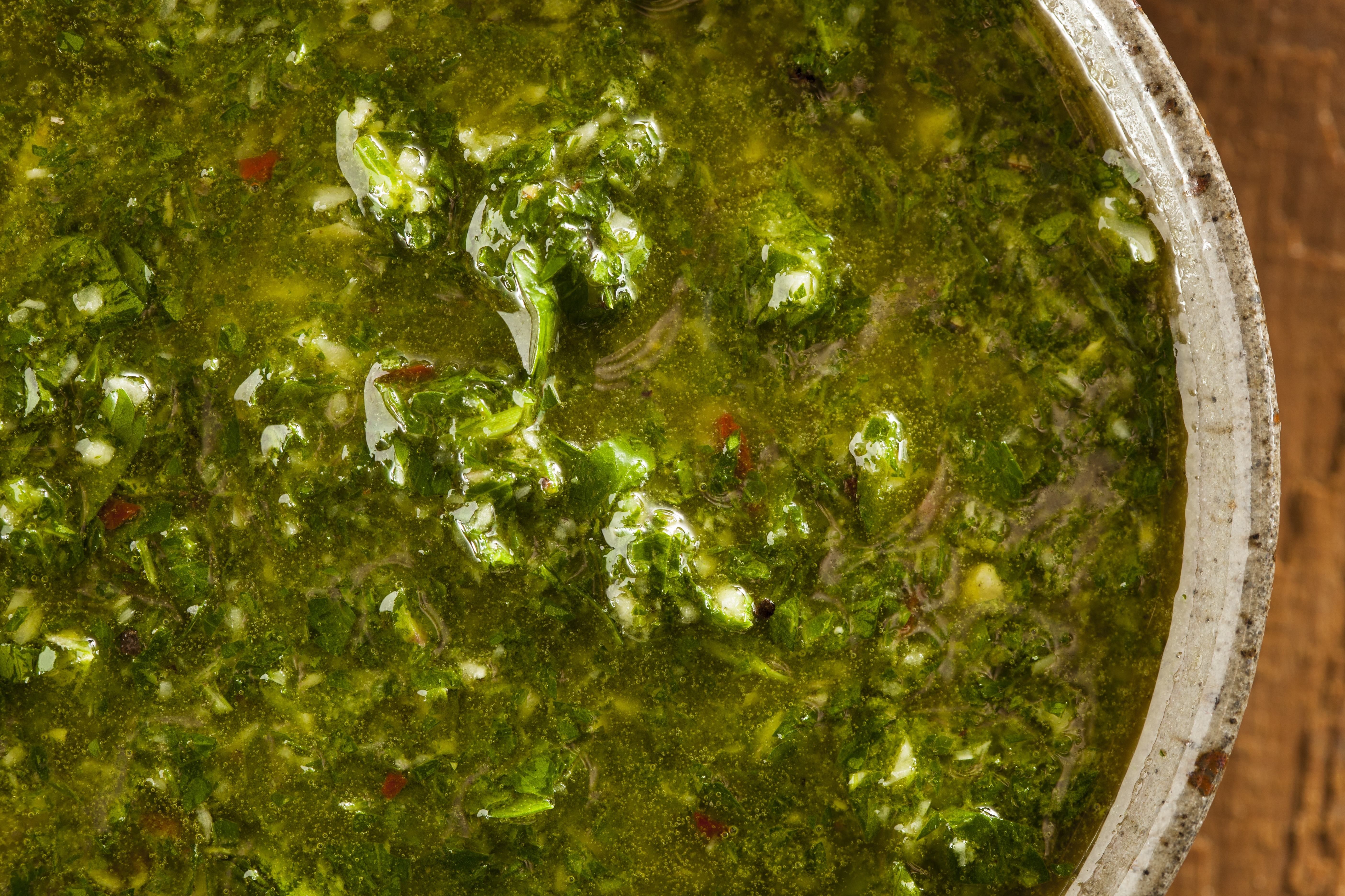 Homemade Green Chimichurri Sauce in a Bowl